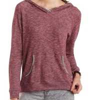 Striped-Trim Marled Hoodie by Charlotte Russe