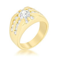 Tanner Golden Sunrise CZ Men Ring | 5ct | Cubic Zirconia | 18k Gold