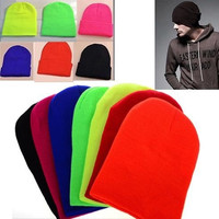 New Desinger Fashion Unisex Winter Solid Color Plain Beanie Knit Ski Cap Skull Hat Warm Cuff Blank Beany For Women Men = 1958239748