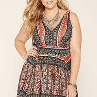 Plus Size Abstract Floral Dress