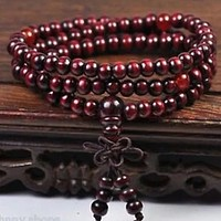 6mm Tibetan Buddhist Sandalwood Chakra Mala Beads Necklace