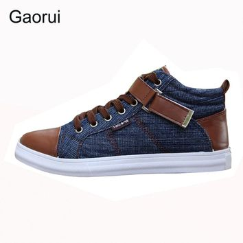 2017 spring autumn men's leisure fashion Board high shoes breathable canvas England style buckel patchwork mix-color flats