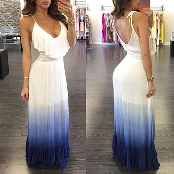 Women Ladies Clothing Summer Sleeveless Casual Party Dress Ladies Frilled Beach Maxi Dresses Women