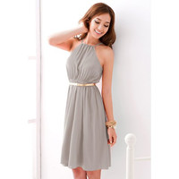 Belted Light Gray Halter Chiffon Dress
