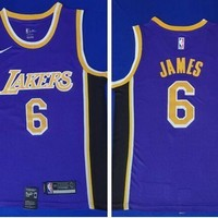Nike Los Angeles Lakers #6 LeBron James Swingman Basketball Jersey Purple