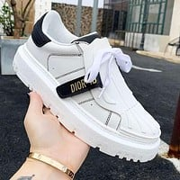 DIOR D letter new shell-toe white shoes with round toe thick bottom fashion all-match sneakers White&Black