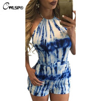CWLSP  Club Wear Summer Style Women Playsuits Short Pants Halter Overalls Sexy Backless Watermelon Tye Dye Print Jumpsuit QL2353