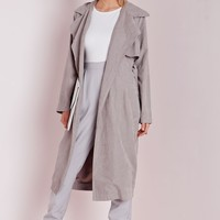 Missguided - Peached Belted Trench Coat Light Grey