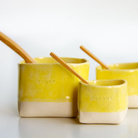 Ceramic Salt Pepper and Sugar Cellars in Yellow by RossLab