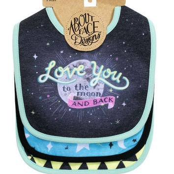 Adorable Love You to the Moon and Back Bibs-2 Set of 3.