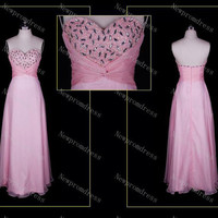 Custom Dress Sweetheart heart shape beads pink organza evening dress ,prom dresses
