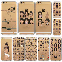 New! Funny Face Kimoji Kim Kardashian Cases For iphone 5 5S SE 5C 6 6S 6PLUS 6SPlus 4 4S Clear Ultrathin TPU Crying Face Cover