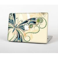 The Vibrant Tan & Blue Butterfly Outline Skin Set for the Apple MacBook Pro 13""