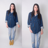 Vintage 1990s oversize Blue and black and POLKA DOT long sleeve button down shirt blouse XL