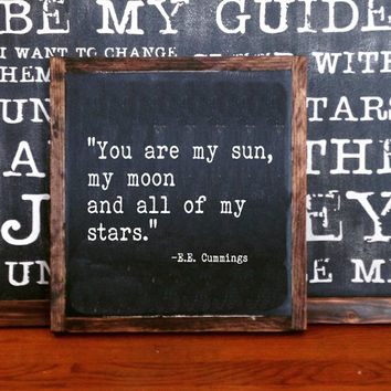You are my sun, my moon and all of my stars FRAMED Hand Painted Rustic Wood Sign Distressed Black Wall Decor, quote