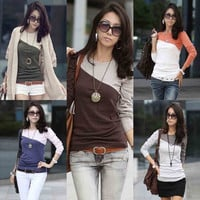 Tops Women's T Shirt Splice Casual Patchwork Round Neck Tee Top Color Block Long Sleeve T-Shirt Tshirt  G0145 = 1956833284
