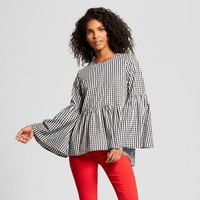 Women's Gingham Long Sleeve Billowy Pullover - Who What Wear™