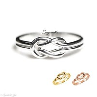 Custom Made Infinity Love Knot Ring with Engraving