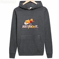 """NIKE Autumn and Winter Tide skateboard """"Just Do oh It"""" letter printed hooded sweater Dark grey"""