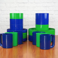 HELLER Dinnerware Massimo Vignelli Melamine Dishes Dinner Plates, Salad Plates, Bowls, Mugs Blue and Green (sold separately)