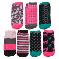 Pink Cookie 7-pk. Sparkle Horse No-Show Socks