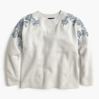 J.Crew Womens Floral Sequin-Sleeve Sweater