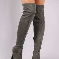Liliana Suede Almond Toe Heeled Over-The-Knee Boots