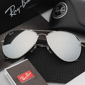 Ray Ban Aviator Sunglass Silver Gray Mirrored RB 3025 112/19