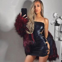 Side Lace Leather Dress