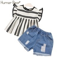 Humor Bear Girls Clothes 2018 Brand Girls Clothing Sets Kids Clothes Children Clothing Toddler Girl Tops+ Pant 2-6Y