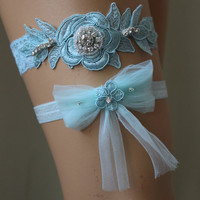 Wedding Garter,Mint Green Lace Bridal Garter,Wedding Accessory,Bridal Lingerie,Wedding Lingerie