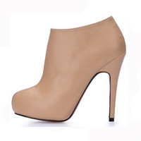 Hot Sale Platform Ankle Boots 2015 Winter Autumn Nude Color Fashion Boots Woman High Heel Red Bottom Plus Size Women Shoes TA038