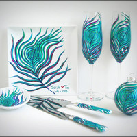 Classic Peacock Wedding Collection - 7 Piece Peacock Feather Collection - Champagne Flutes, Ring Dish, Cake Plate, Cake Cutting Set