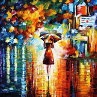 "Rain Princess  —  Oil Painting On Canvas By Leonid Afremov - Size: 24""x24"""