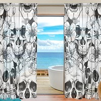 Sheer Voile Window Curtain Vintage Sugar Skull Floral Pattern