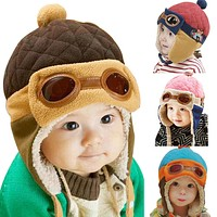 Baby Winter Autumn Spring Warm Hat Toddlers Cool Caps Boy Girl Pilot Cute Beanie Caps Children Kids Hats