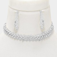 """13.50"""" crystal 3 row bubble choker necklace 1.60"""" earrings .50"""" wide bridal prom"""