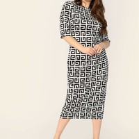 Plus Mock-neck Greek Bodycon Dress Without Bag