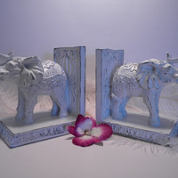 Elephant Bookends / White elephants / Library / Circus elephants /  Shabby Cottage / Home Accent / Whimsical / Fun Gift Idea / Set of 2