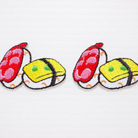 Sushi Japanese Food New Iron On Patch Embroidered Applique Size 9cm.x6cm.