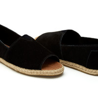 BLACK SUEDE WOMEN'S OPEN TOE ALPARGATAS