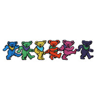 XLG Grateful Dead Rainbow Dancing Bears Classic Rock Band Iron On Applique Patch
