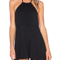 Black Halter Ruffled  Backless Romper