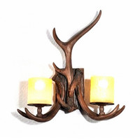 2 light vintage nordic countryside bar counter balcony antler wall lamp light wall sconce