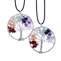 Women's Fashion Jewelry Natural Stone Circular Border Pattern Rice-like Tree Pendant Necklace