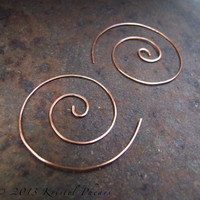 """Copper Spiral Hoop Earrings 1.75"""" - swirl hoop nautilus in copper or brass, fun interchangeable bail lightly hammered Eco-Friendly gift 40mm"""
