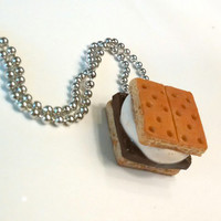 S'mores Necklace, Polymer Clay Food Jewelry