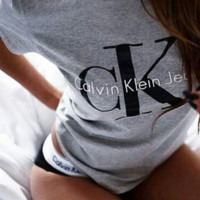 Calvin klein jeans Hot sexy letters printing female sweater pullovers Blue tee shirt