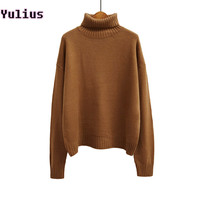 2015 Autumn and Winter Vintage Women SweaterBatwing Sleeve Loose Turtleneck Knitted Pullover Army Green Sweaters Crop Top