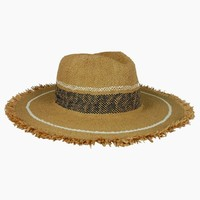 Fringed Stripe Continental Straw Sun Hat - Toast/White/Navy